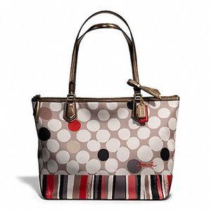 Coach Poppy Watercolor Dots Shopper Tote